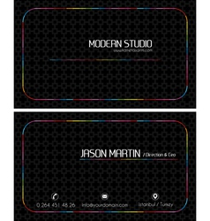 Colorful black creative business card vector image