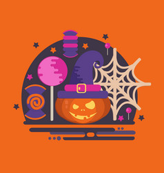 halloween party concept in flat style vector image