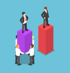 isometric leader use his employees carrying and vector image vector image