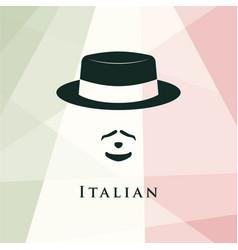italian men avatar on italian flag background vector image