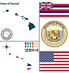 Map of Hawaii with seal vector image vector image