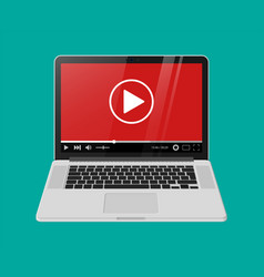 modern notebook with video player on screen vector image