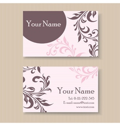 pink business card with floral elements vector image