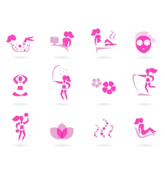 pink spa wellness icons vector image