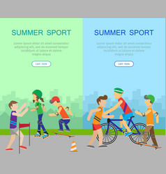 two summer sport banners vector image vector image
