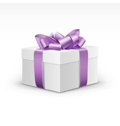White Gift Box with Light Purple Violet Ribbon vector image