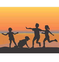 beach children vector image