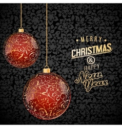 Christmas background with red and gold glass vector image