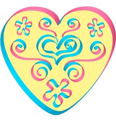 Heart decorated by ribbons in pink-blue colors vector image vector image