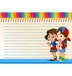 International girls and line paper vector
