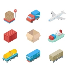 Isometric cargo transportation and logistic icons vector image vector image