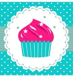 Retro party cupcake template vector image vector image