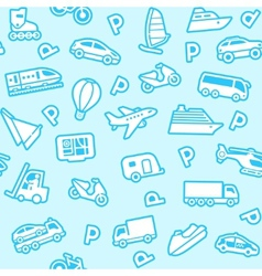 seamless transport icons vector image vector image