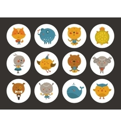 Set of animal avatars vector image