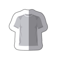 sticker grayscale silhouette with male t-shirt vector image