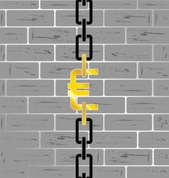 euro on brick wall vector image