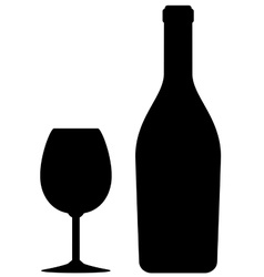 isolated wine bottle and glass vector image vector image