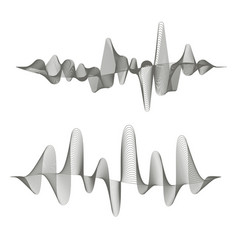 two digital sound waves on white background vector image vector image