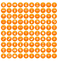 100 plane icons set orange vector