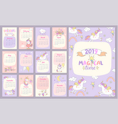 2019 magical time calendar with unicorns vector