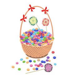 A Brown Basket of Chocolates and Lollipops vector image