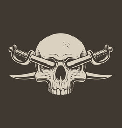 A skull with crossed sabers vector