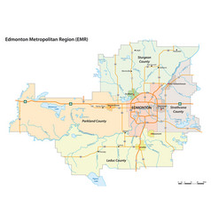 Administrative map edmonton alberta vector