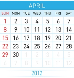 april calendar vector image