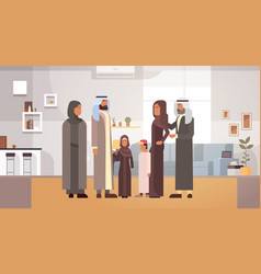 Arab family home arabic parents with children in vector