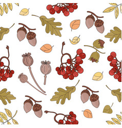 Autumn landscape fall season seamless pattern vect vector