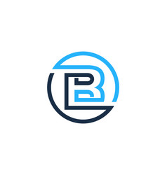B letter circle line logo icon design vector
