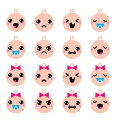 Baby boy and girl cute Kawaii icons set vector image