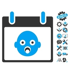 Baby Head Calendar Day Icon With Bonus vector image