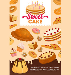 bakery and pastry desserts cartoon vector image