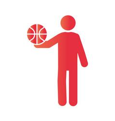basketball game player with ball equipment vector image