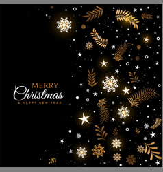 black and golden merry christmas decorative vector image