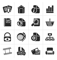 Black Web Site and Internet icons vector image