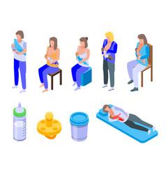 Breastfeeding icons set isometric style vector