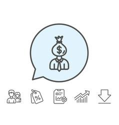 Businessman earnings line icon dollar money bag vector