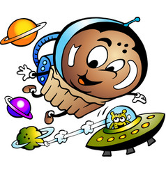 cartoon a happy muffin astronaut vector image