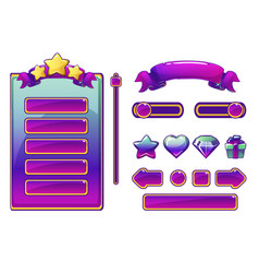 Cartoon purple assets and buttons for ui game vector