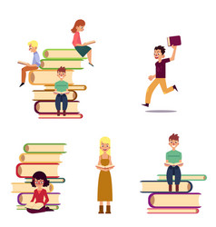 cartoon set of reading people and giant books vector image vector image