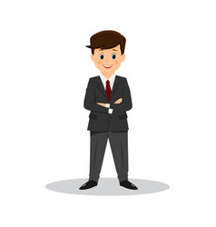 cartoon smiling businessman with arms crossed on vector image