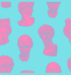 Classic head statue background in neon colors vector