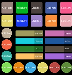 Click here sign icon Press button Set from twenty vector