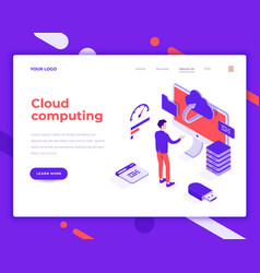 cloud computing people and interact with screen vector image