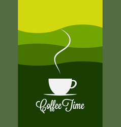 coffee cup logo coffee morning landscape concept vector image