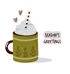 colorful card with cup cocoa and cream winter vector image