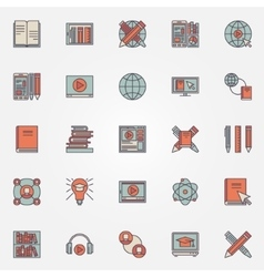 Colorful online education icons vector