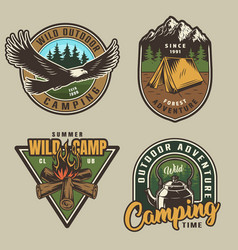 Colorful summer adventure labels vector